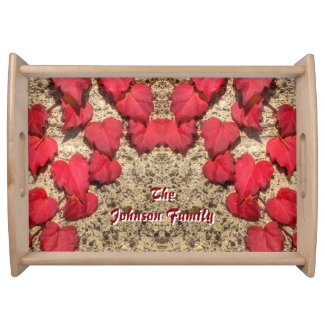 Cute Heart-Shaped Red Fall Vine Leaves Botanical Serving Tray
