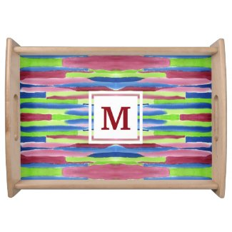 Monogram Watercolor Stripes Pattern Red Blue Green Serving Tray
