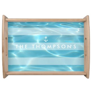 Aqua and White Nautical Pool Serving Tray