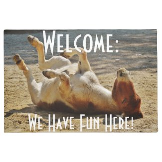 Welcome with Sweet Donkey Having Fun Doormat