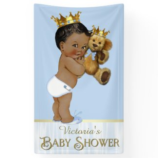 African American Prince Teddy Bear Baby Shower Banner