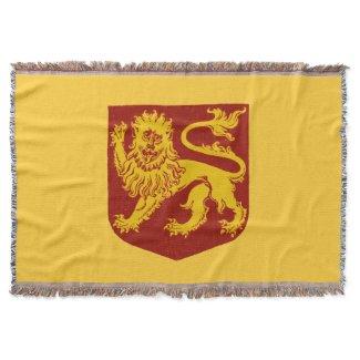 Golden Lion on Red Shield Heraldry Throw Blanket