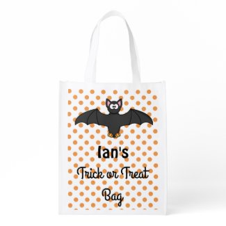 Personalize this Bat Orange and Black Candy Bag Grocery Bags