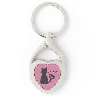 """Cat Mom"" Black Cat Heart Keychain"