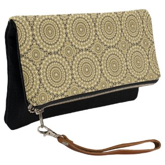 Gold Diamonds Print Geometric Circle Pattern Clutch