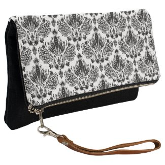 Elegant Black & White Vintage Floral Damasks Clutch