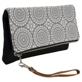 White Diamonds Print Geometric Circle Pattern Clutch