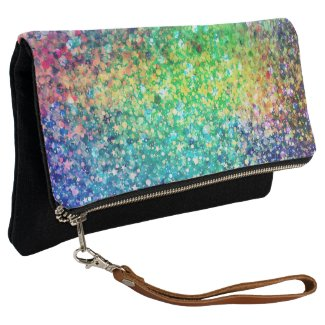 Colorful Glitter texture Print Clutch