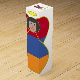 Armenian Angel Flag Black Hair Wine Gift Box