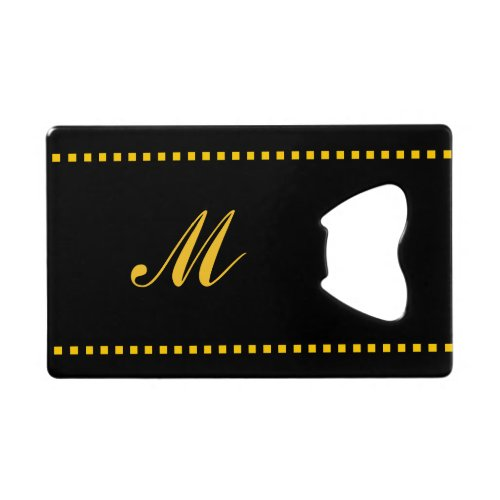 Black and Yellow Monogrammed Credit Card Bottle Opener