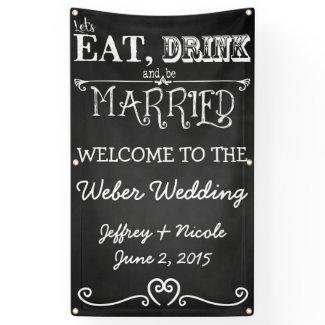 Chalkboard Personalized Custom Wedding Banner