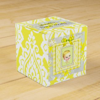 Yellow, White and Gray Baby Shower Candy Favor Box