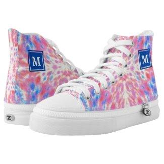 Monogram Watercolor Pink Blue Floral Fireworks Printed Shoes