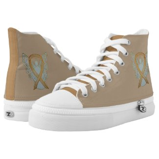 Gold Awareness Ribbon Angel Custom Design Shoes Printed Shoes