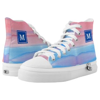 Monogram Watercolor Blue Pink Ombre Gradation Printed Shoes