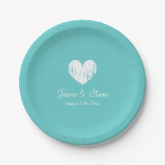 Turquoise blue and white chic wedding party plates