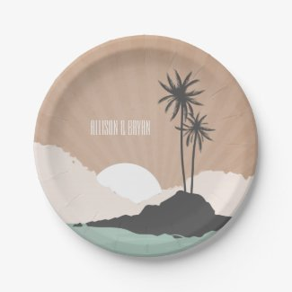 Vintage Inspired Island Beach Wedding Paper Plate