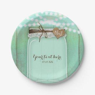 Large Mason Jar & Lights Mint Rustic Wedding Paper Plate