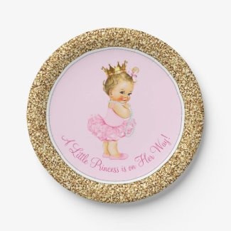 Princess Ballerina Tutu Pink Gold Baby Shower Paper Plate