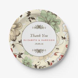 Modern Floral Garden Botanical Wedding Paper Plate