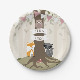 Woodland Girl Baby Shower Paper Plate