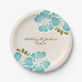 Pool Hibiscus Hawaiian Wedding Paper Plate