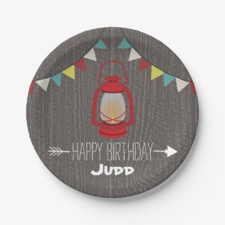 Red Lantern Camping Birthday Paper Plate