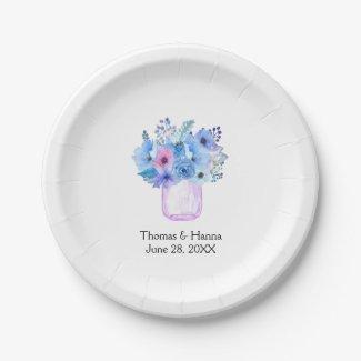 Mason Jar Wedding Blue Paper Plate