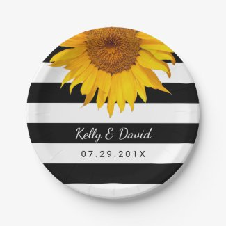 Sunflower Modern Stripes Rustic Wedding Paper Plate