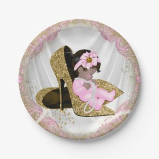 Pink Gold High Heel Ethnic Girl Baby Shower Paper Plate
