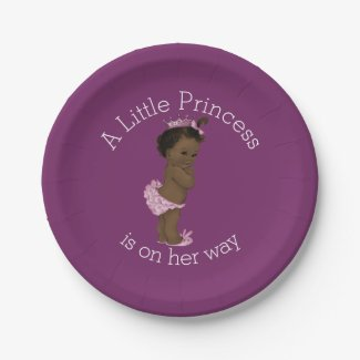 Ethnic Little Princess Baby Shower Purple Paper Plate