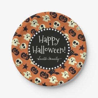 Happy Halloween Skulls Ghosts Stars and Pumpkins Paper Plate
