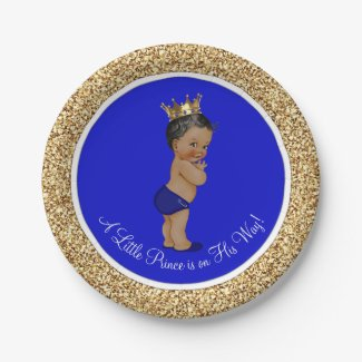 Royal Blue African American Prince Baby Shower Paper Plate