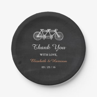 Tandem Bicycle On Chalkboard Wedding Paper Plate