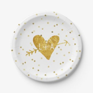 add your monogram faux gold foil heart with arrow paper plate