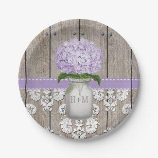 Monogrammed Mason Jar Purple Hydrangea Wedding Paper Plate
