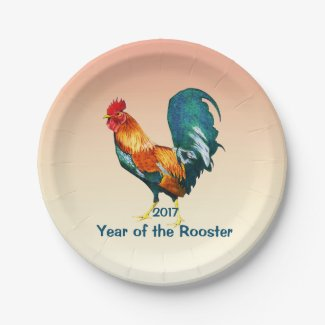 Rooster 2017 Chinese New Year 7 inch Paper Plates