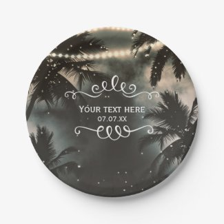 Enchanted Night Sky Palm Trees & String Lights Paper Plate