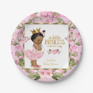 Ethnic Princess Baby Shower Pink Gold Rose Floral Paper Plate