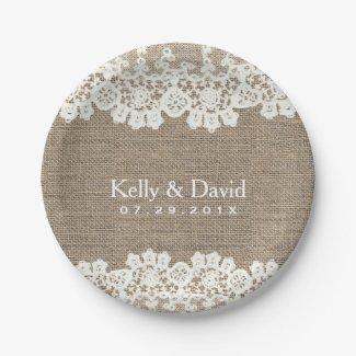 Rustic Burlap & Lace Vintage Wedding Paper Plate
