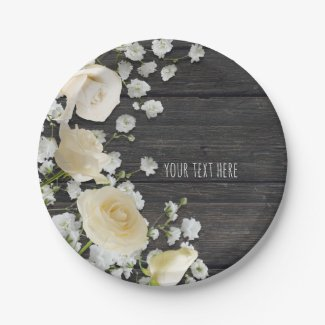White Roses & Baby's Breath on Wood Bridal Shower Paper Plate