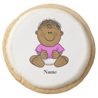 Brown Baby Girl Cookies Customize with Name