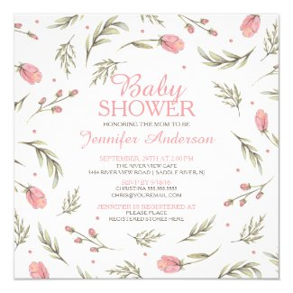 Pretty Pink Rose Baby Shower Card