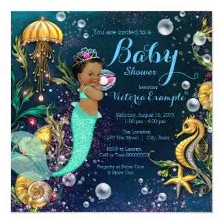 Ethnic Mermaid Baby Shower Card