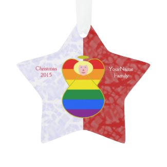Gay Pride Angel Flag Blonde Hair Red White Ornament