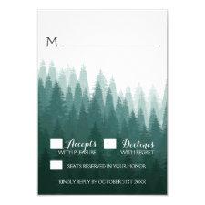 Rustic Evergreen Pine Tree Wedding RSVP Cards