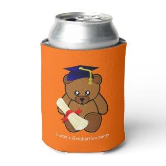 teddy bear graduation in neon orange can cooler