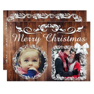Rustic Wood with White Script Frame Christmas Card