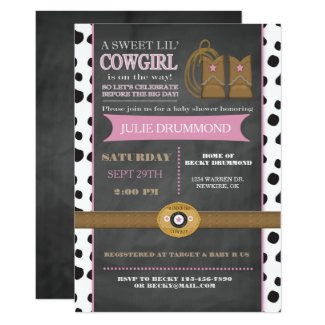 Cowgirl Chalkboard Baby Invitation in Pink