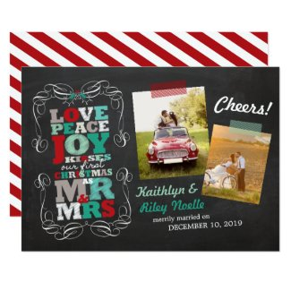 Chalkboard Mistletoe First Christmas Photo Card
